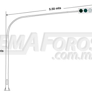 Poste para semáforo cónico tipo látigo