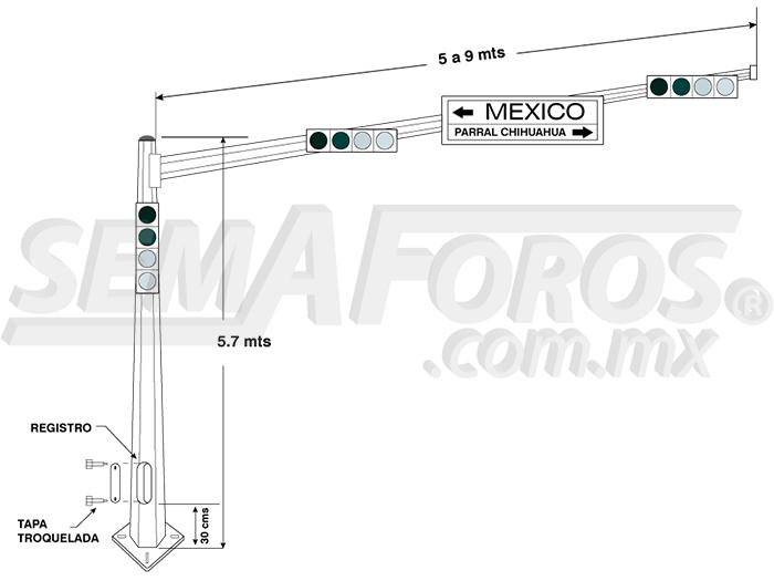 Poste para semáforo cónico octagonal PMG-10